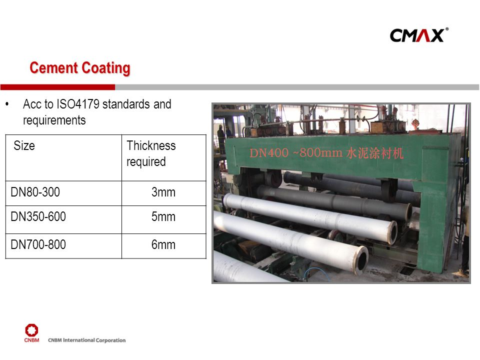 Cement Coating Acc to ISO4179 standards and requirements Size