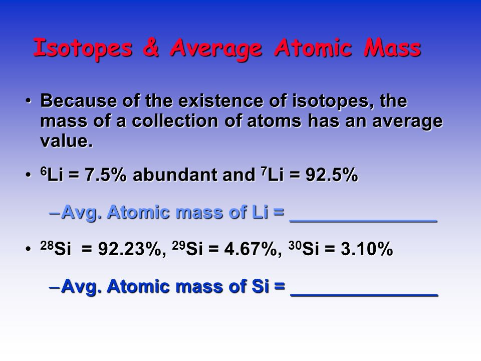 Isotopes & Average Atomic Mass
