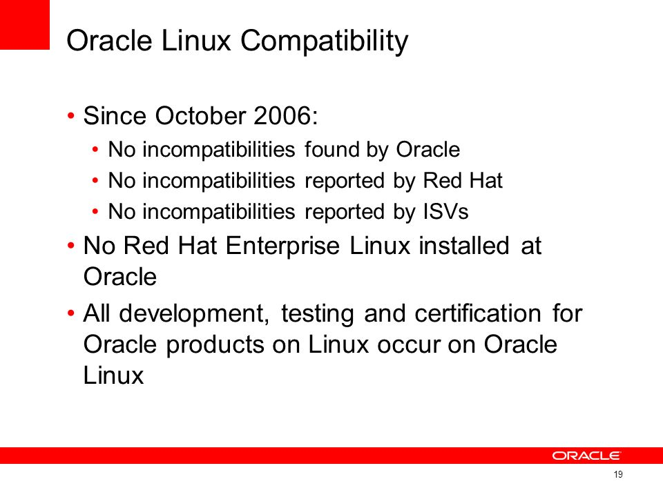 Oracle Linux Compatibility