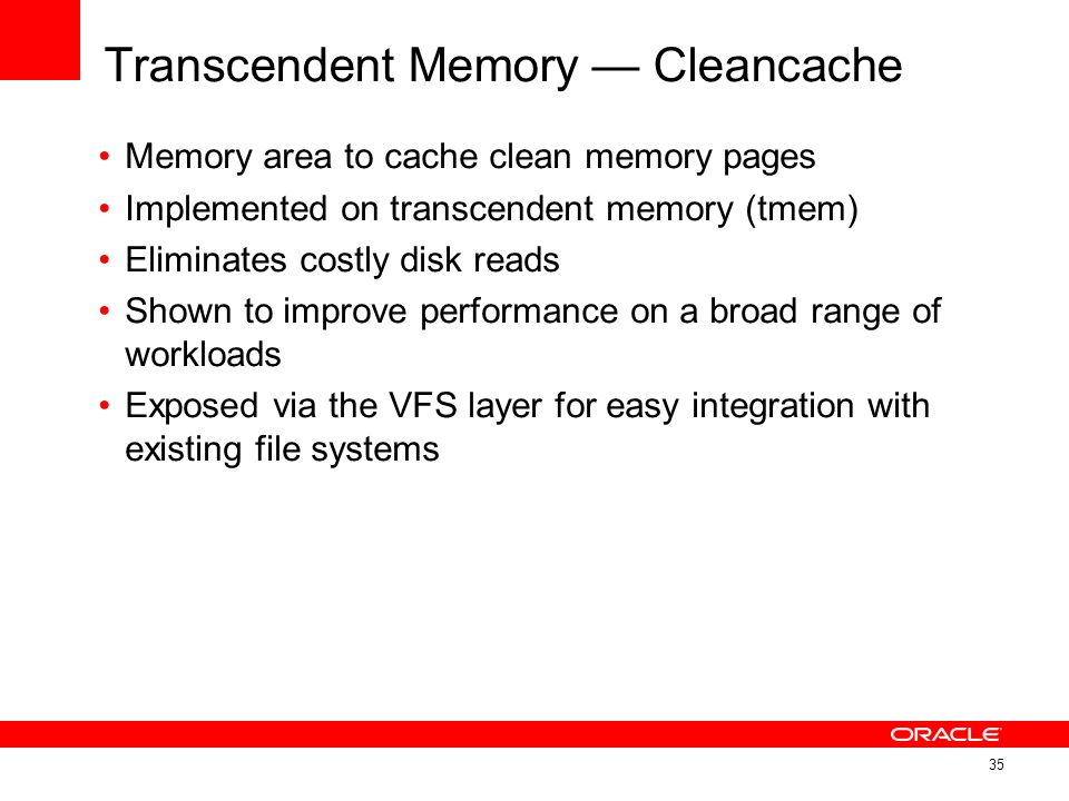 Transcendent Memory — Cleancache