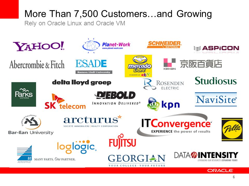 More Than 7,500 Customers…and Growing Rely on Oracle Linux and Oracle VM