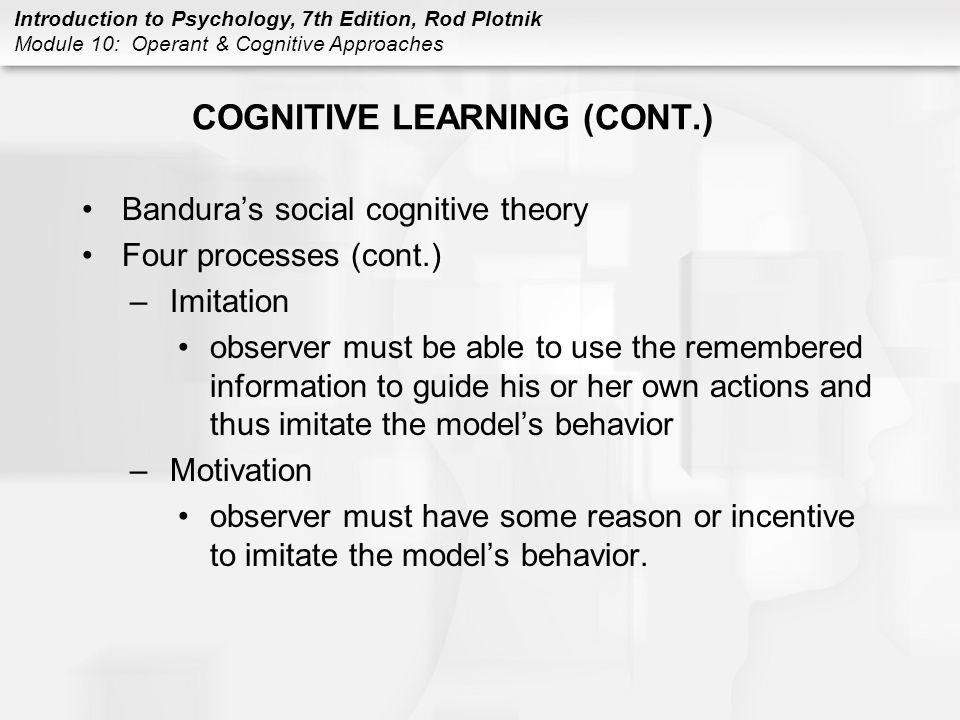 COGNITIVE LEARNING (CONT.)