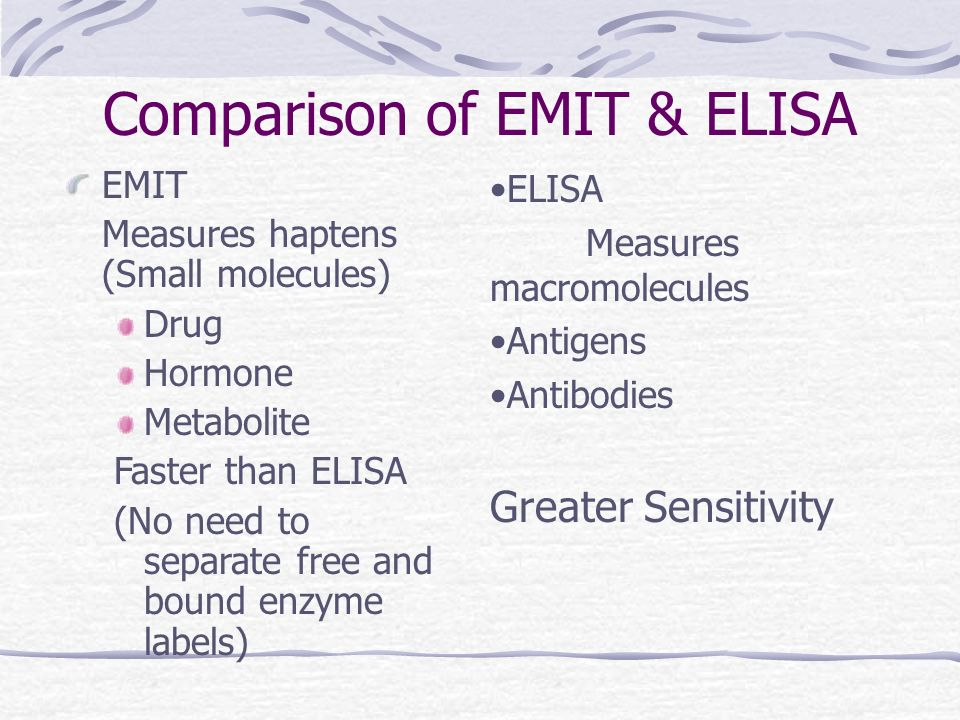Comparison of EMIT & ELISA