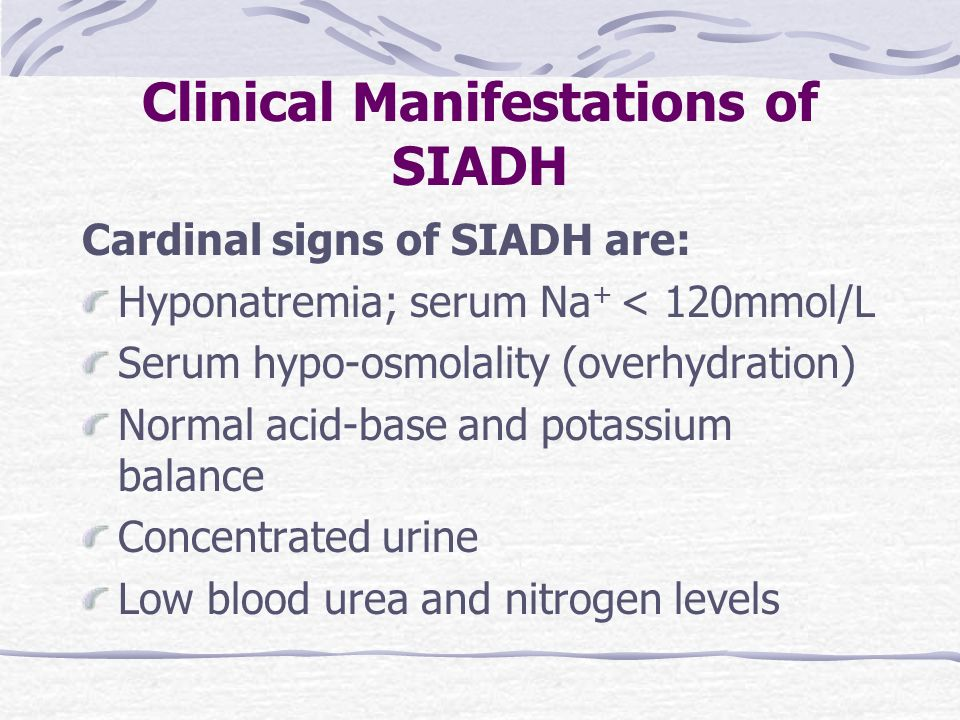 Clinical Manifestations of SIADH