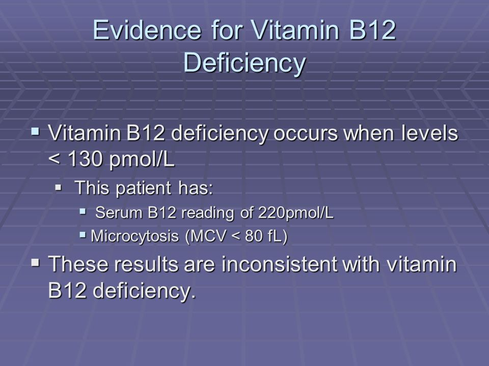 Evidence for Vitamin B12 Deficiency
