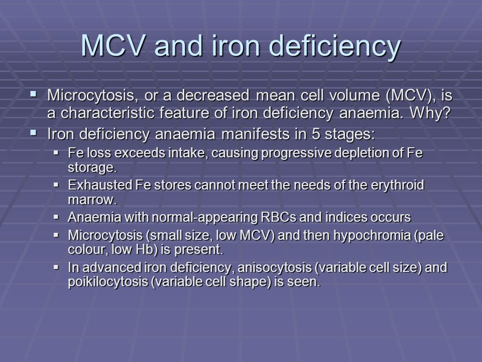 MCV and iron deficiency