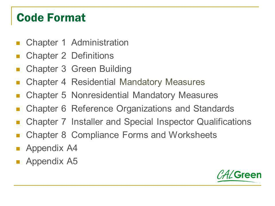 Code Format Chapter 1 Administration Chapter 2 Definitions