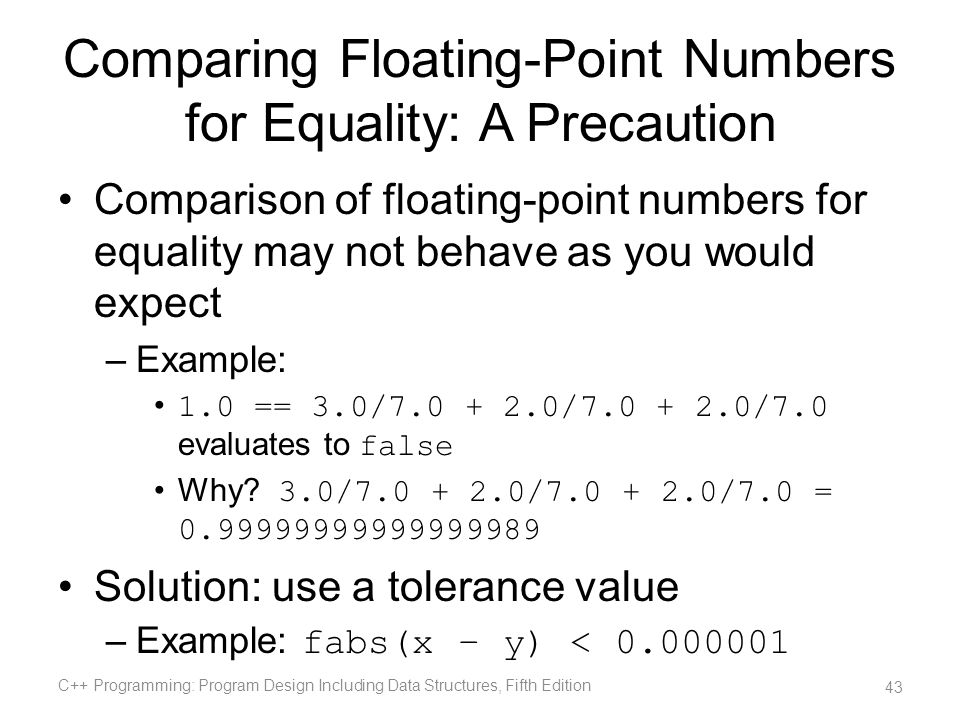 Comparing Floating-Point Numbers for Equality: A Precaution