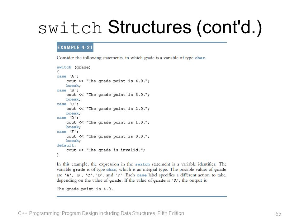 switch Structures (cont d.)