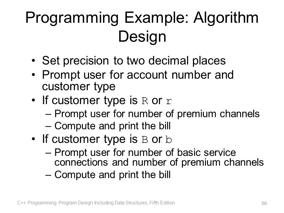 Programming Example: Algorithm Design