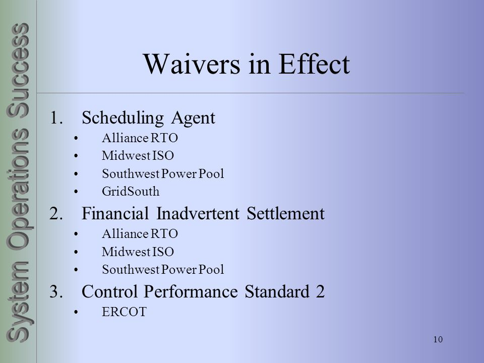 Waivers in Effect Scheduling Agent Financial Inadvertent Settlement