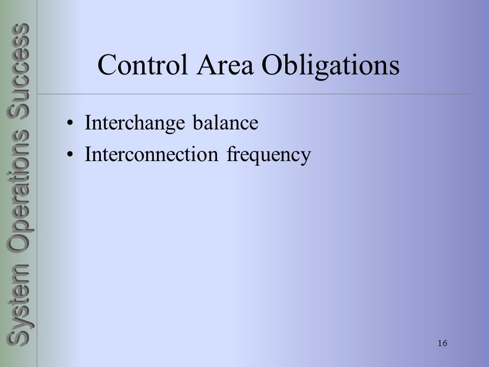 Control Area Obligations