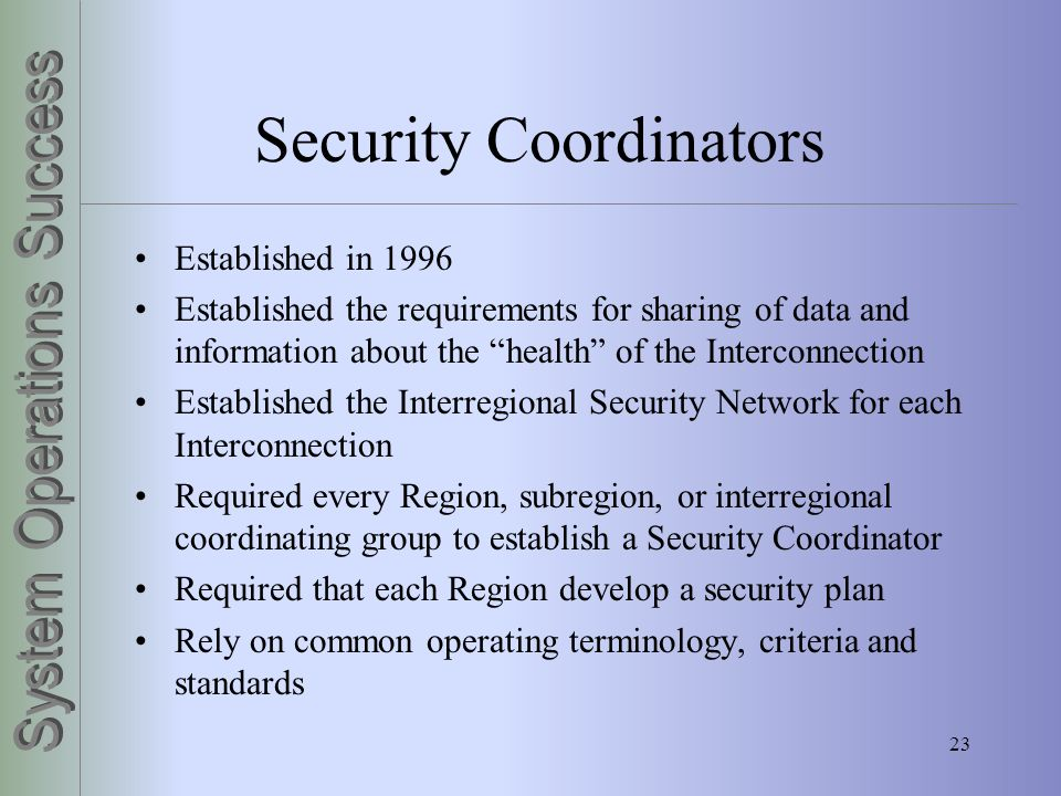 Security Coordinators