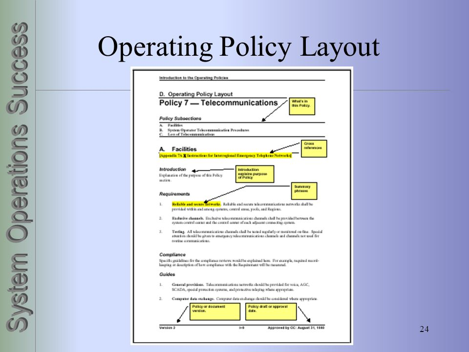 Operating Policy Layout