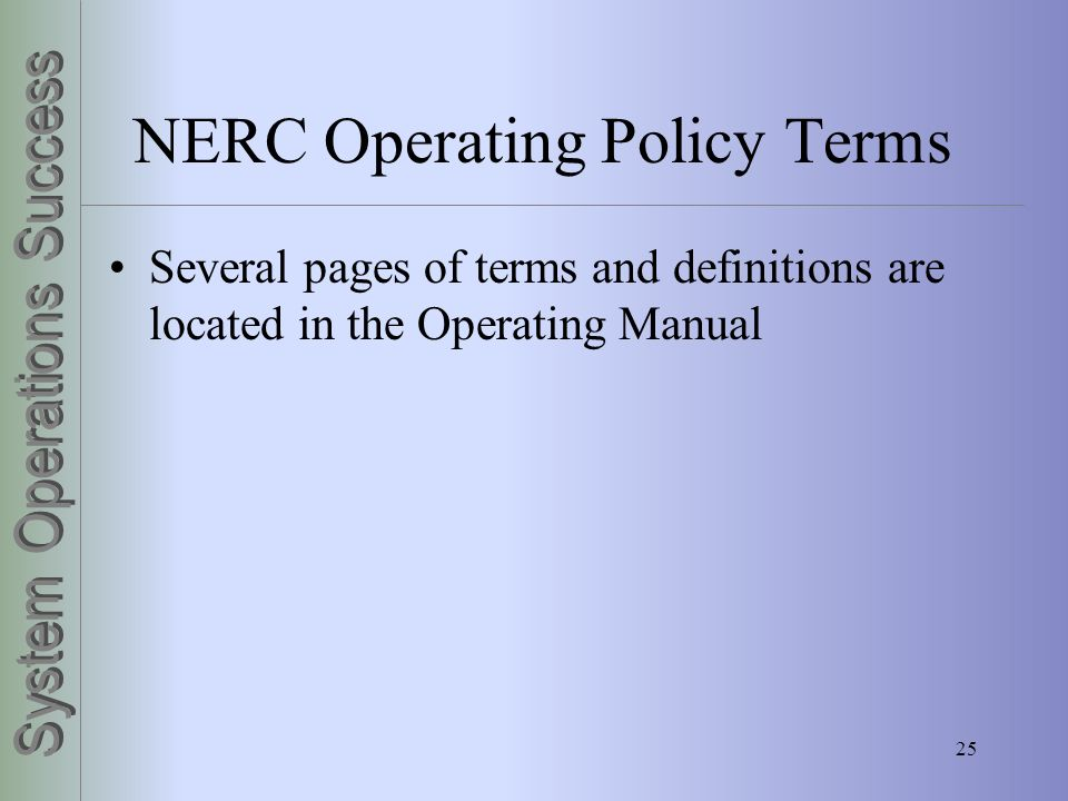 NERC Operating Policy Terms