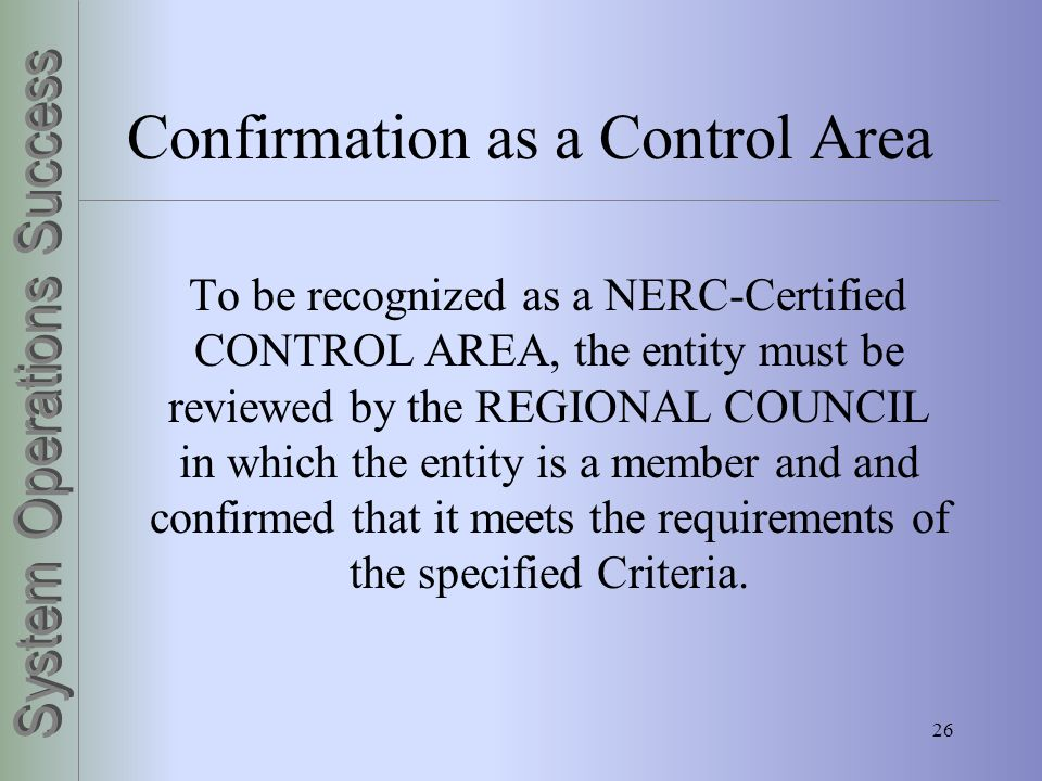 Confirmation as a Control Area
