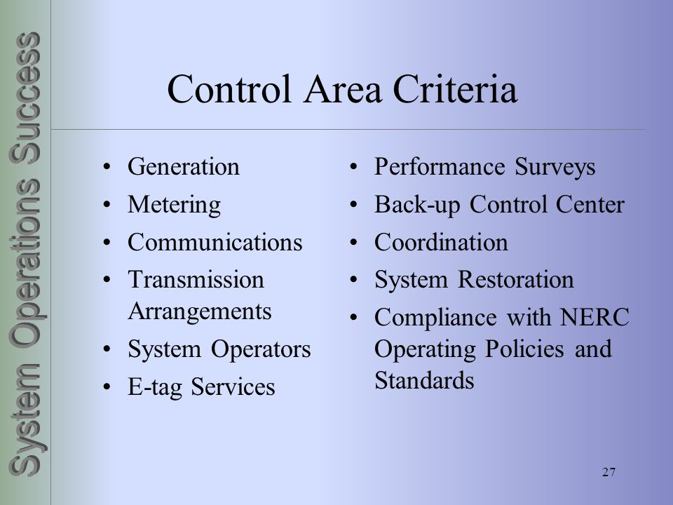 Control Area Criteria Generation Metering Communications