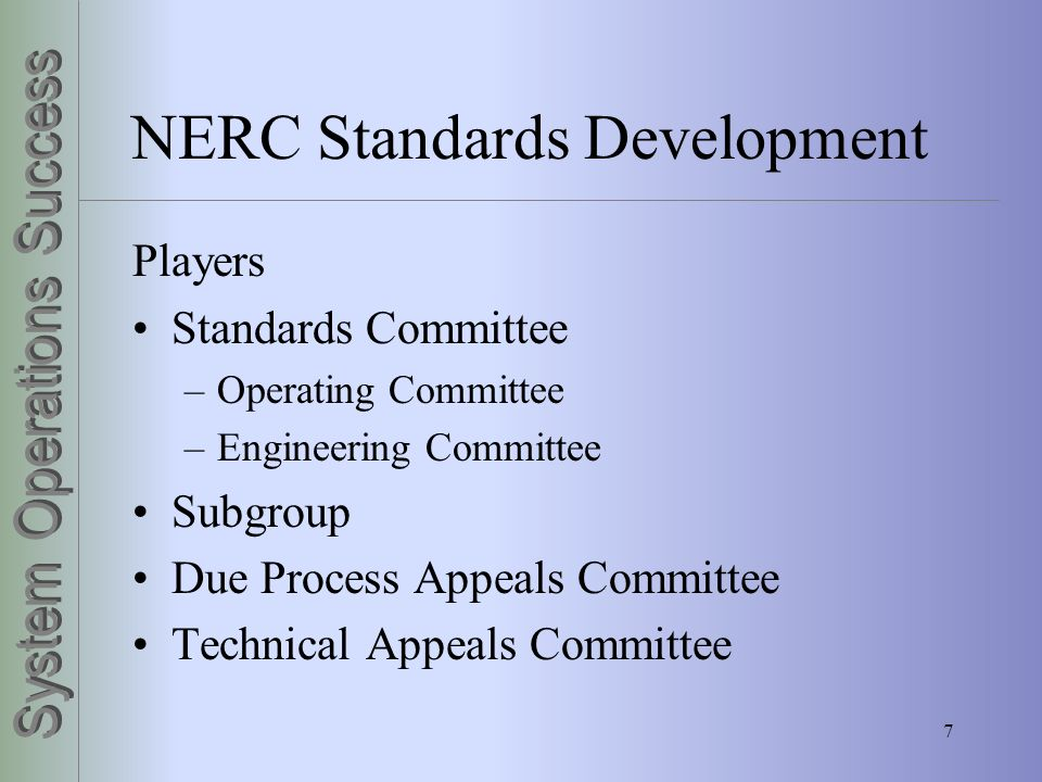 NERC Standards Development