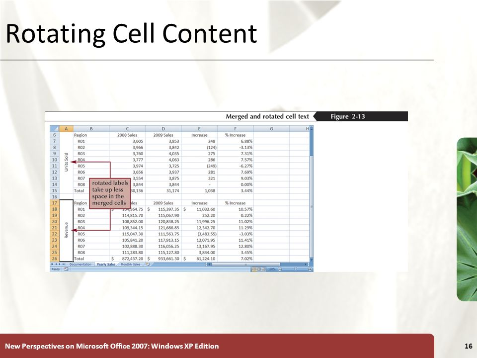 Rotating Cell Content New Perspectives on Microsoft Office 2007: Windows XP Edition