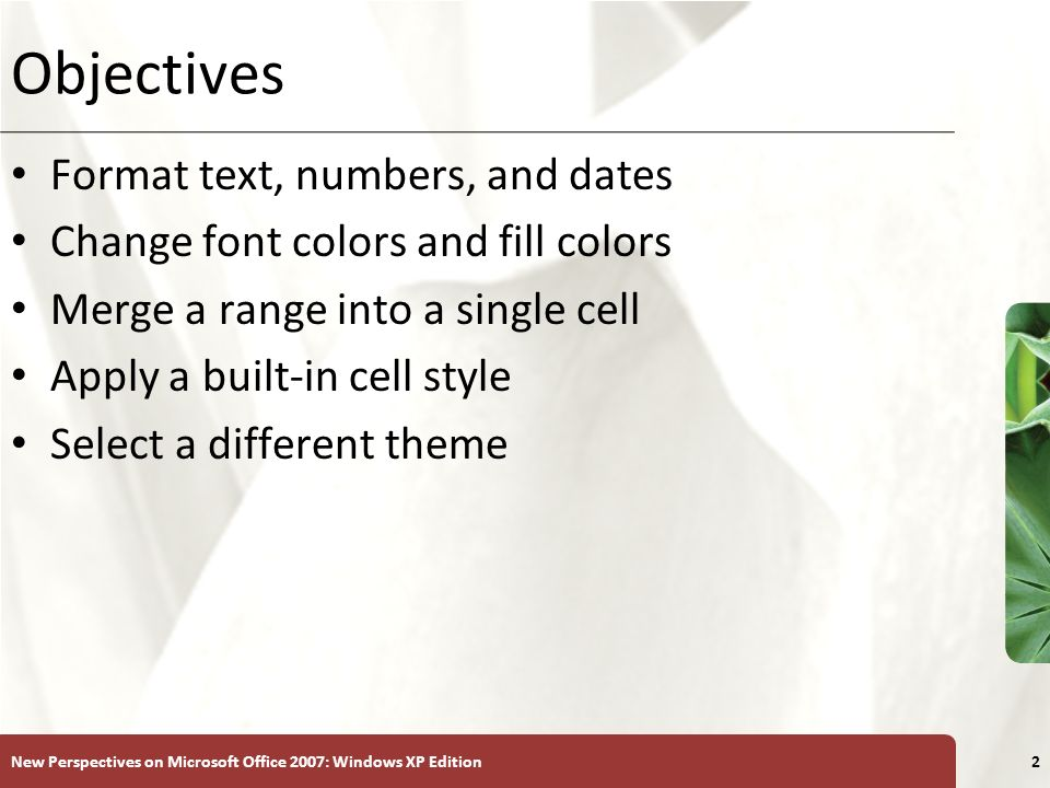 Objectives Format text, numbers, and dates