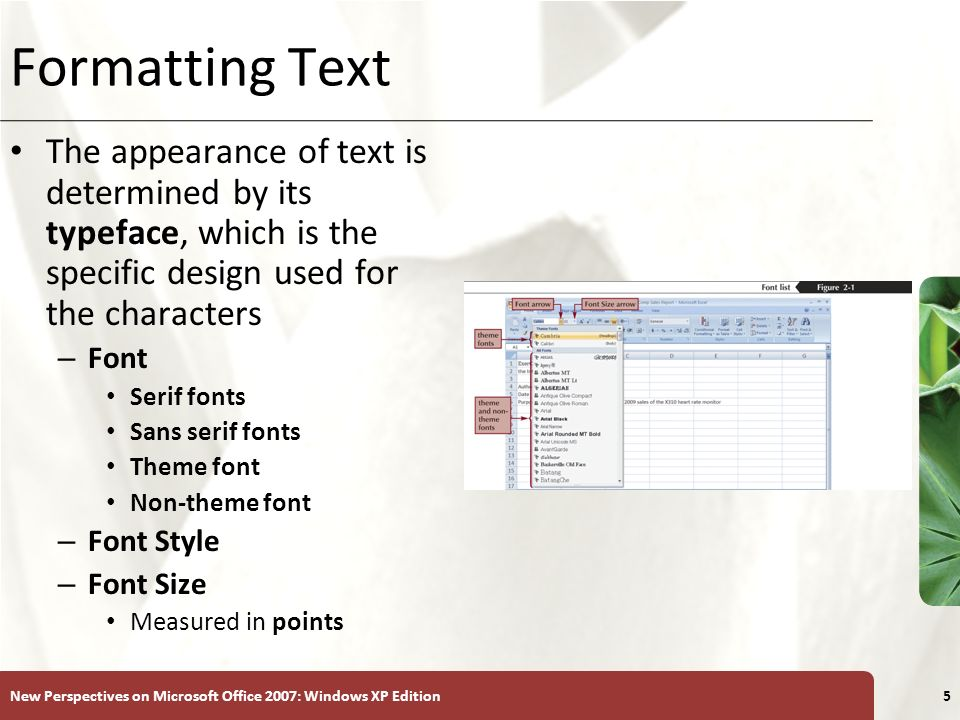 Formatting Text The appearance of text is determined by its typeface, which is the specific design used for the characters.