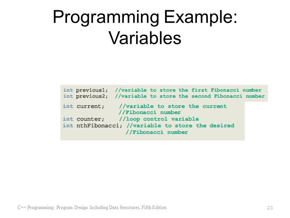 Programming Example: Variables