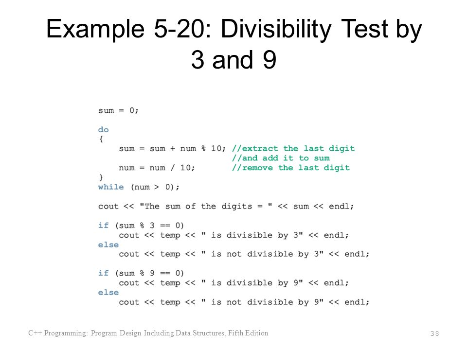 Example 5-20: Divisibility Test by 3 and 9