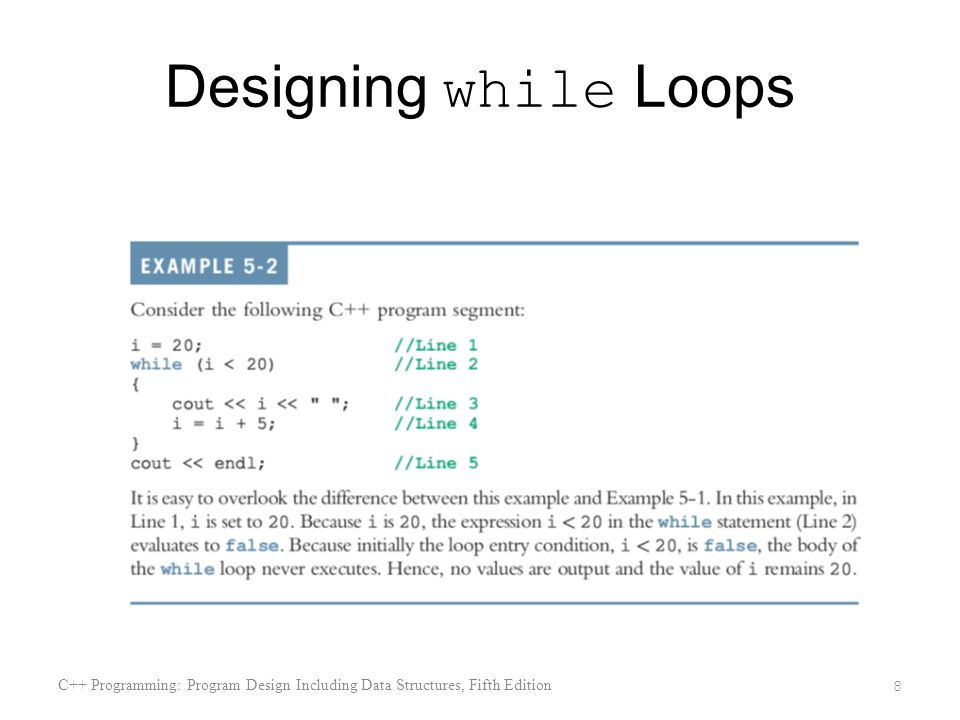 Designing while Loops C++ Programming: Program Design Including Data Structures, Fifth Edition