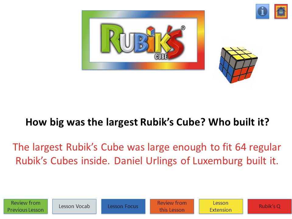 How big was the largest Rubik's Cube Who built it