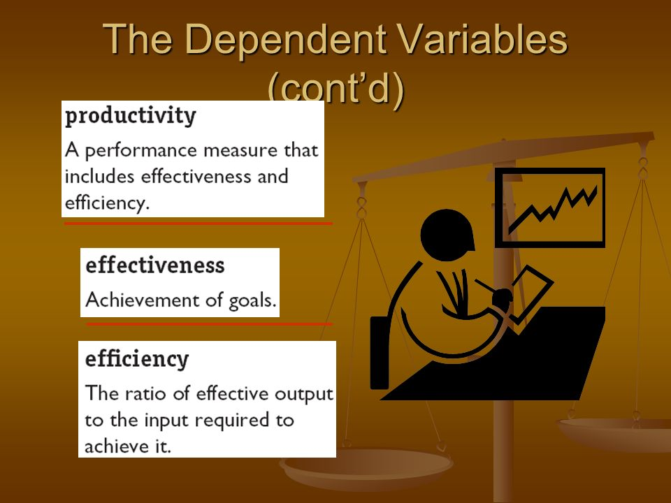 The Dependent Variables (cont'd)