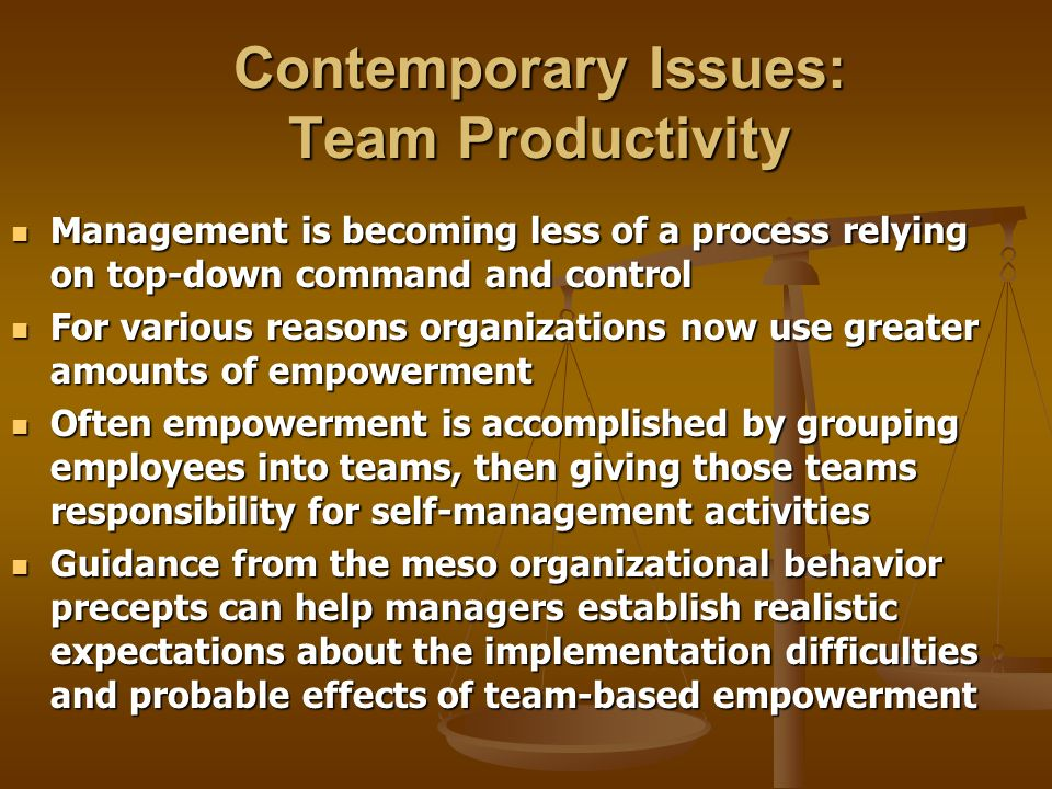 Contemporary Issues: Team Productivity
