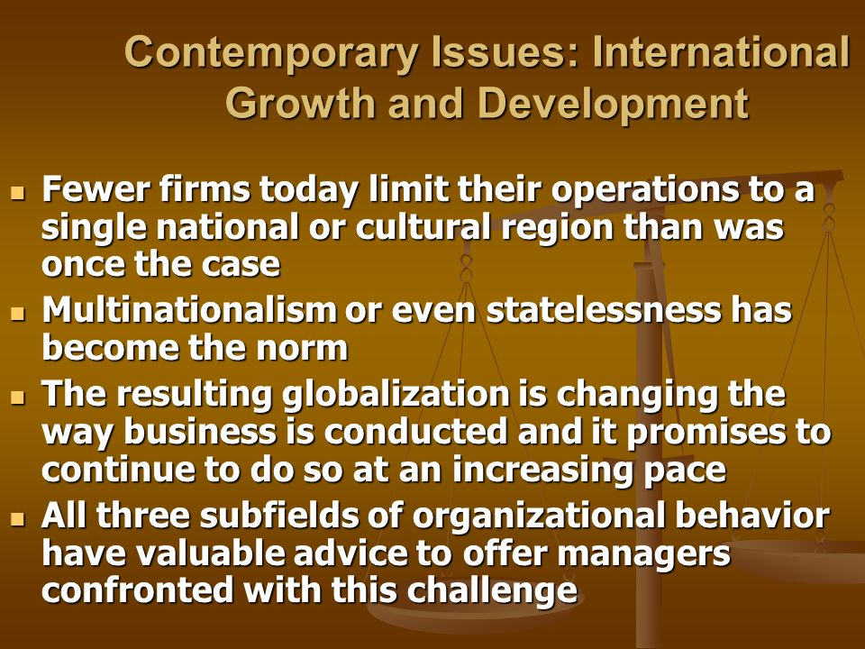 Contemporary Issues: International Growth and Development