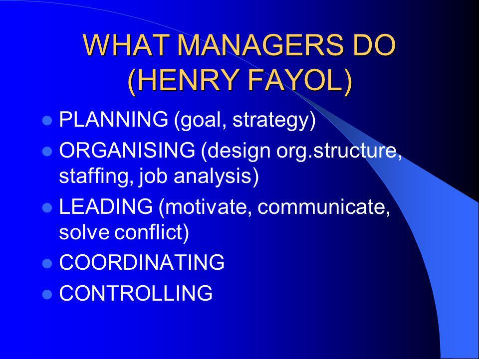 WHAT MANAGERS DO (HENRY FAYOL)