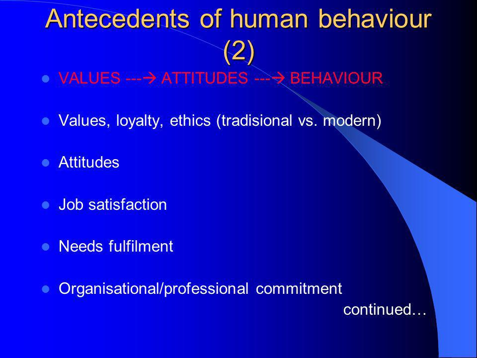Antecedents of human behaviour (2)