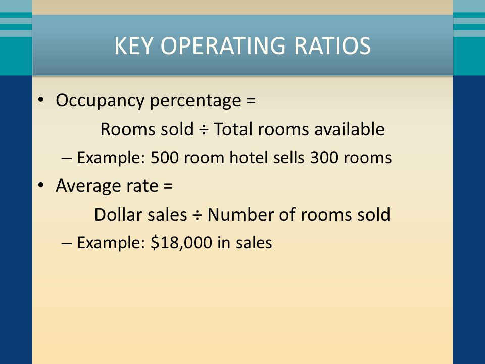 KEY OPERATING RATIOS Occupancy percentage =