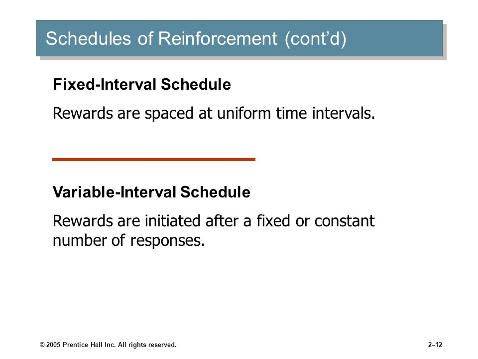 Schedules of Reinforcement (cont'd)