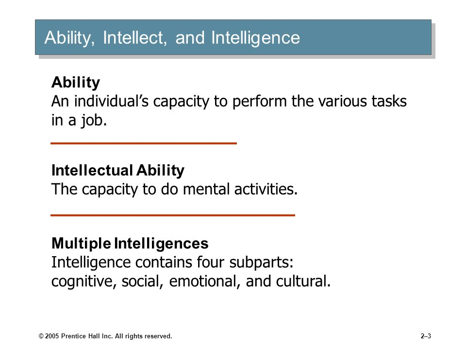 Ability, Intellect, and Intelligence