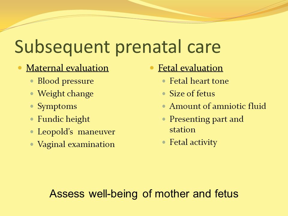 Subsequent prenatal care