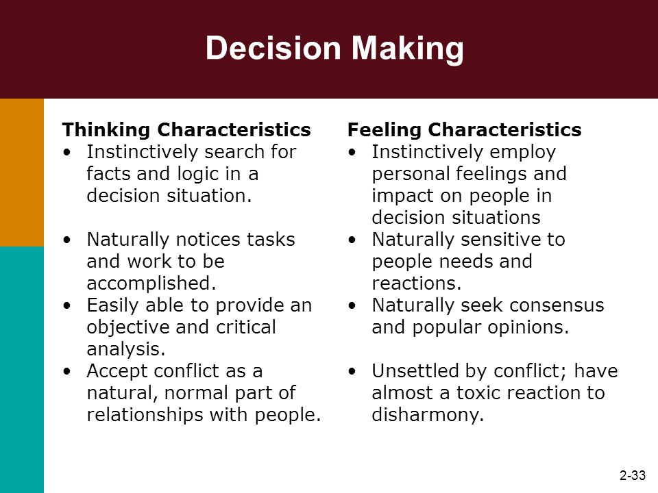 Decision Making Thinking Characteristics
