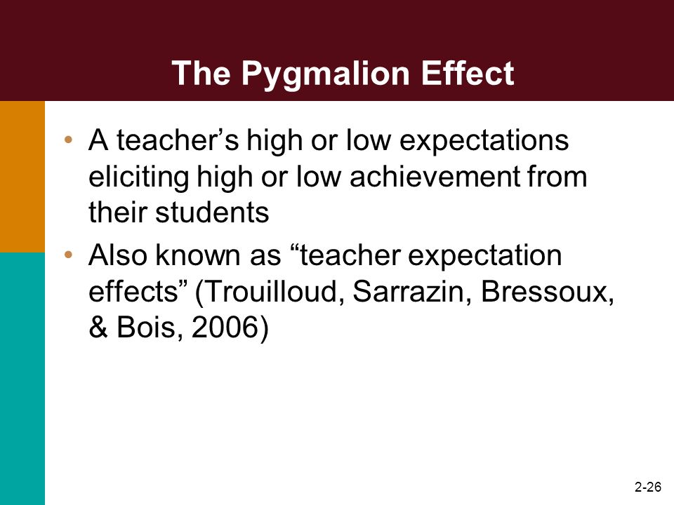 The Pygmalion Effect A teacher's high or low expectations eliciting high or low achievement from their students.