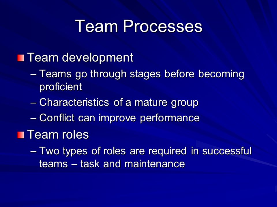 Team Processes Team development Team roles