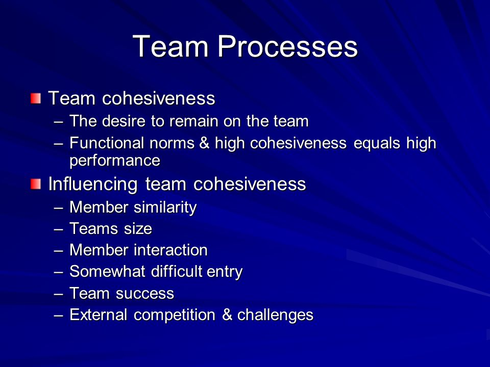 Team Processes Team cohesiveness Influencing team cohesiveness