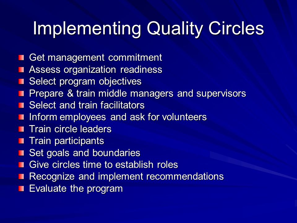Implementing Quality Circles