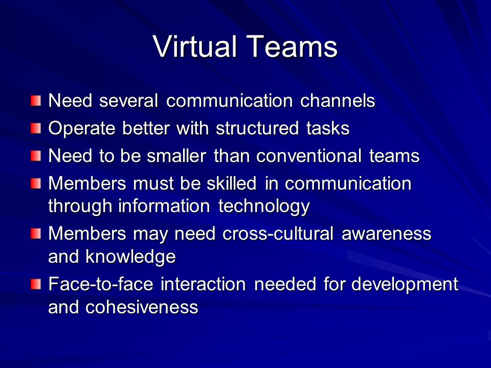 Virtual Teams Need several communication channels