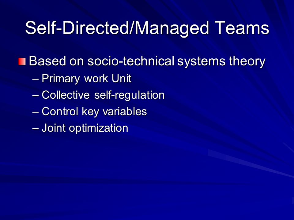 Self-Directed/Managed Teams