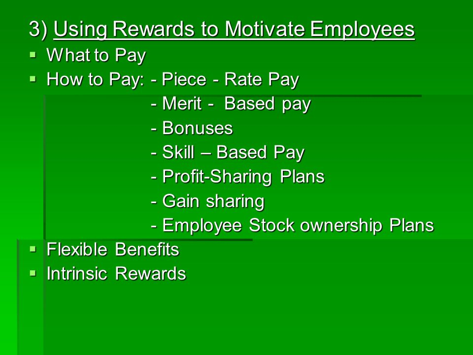 3) Using Rewards to Motivate Employees