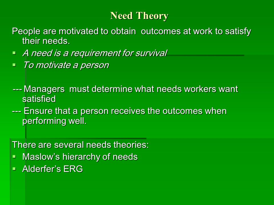 Need Theory People are motivated to obtain outcomes at work to satisfy their needs. A need is a requirement for survival.