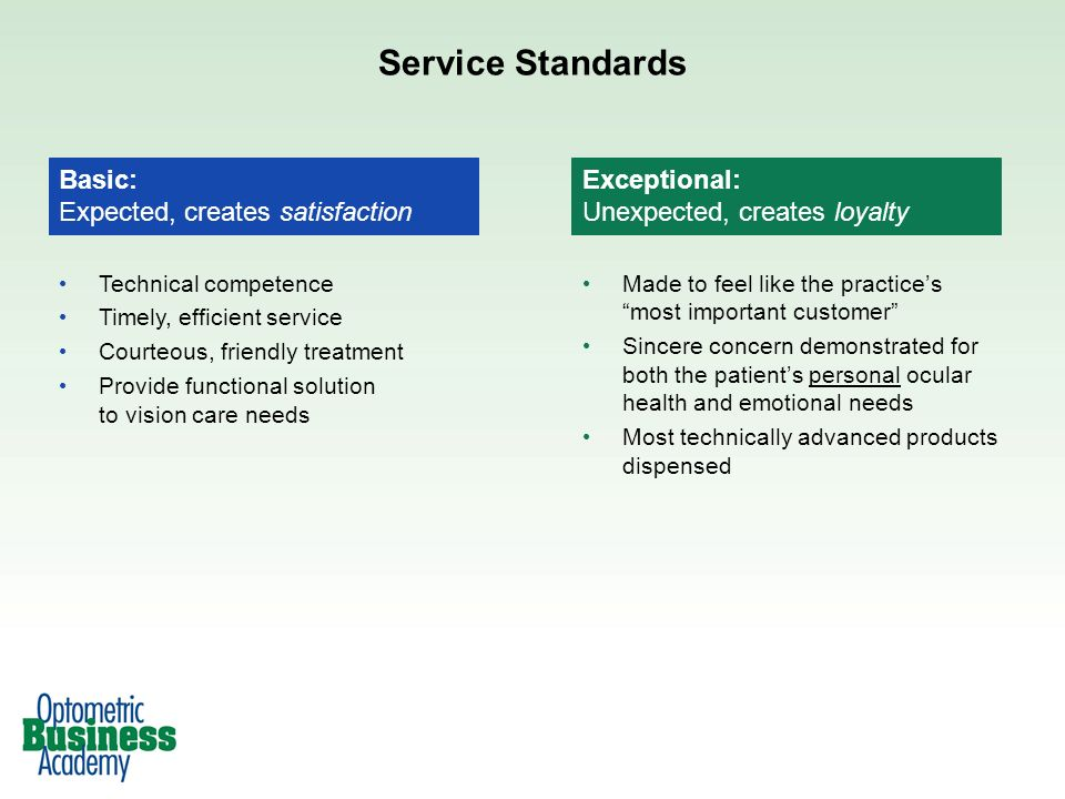 Service Standards Basic: Expected, creates satisfaction