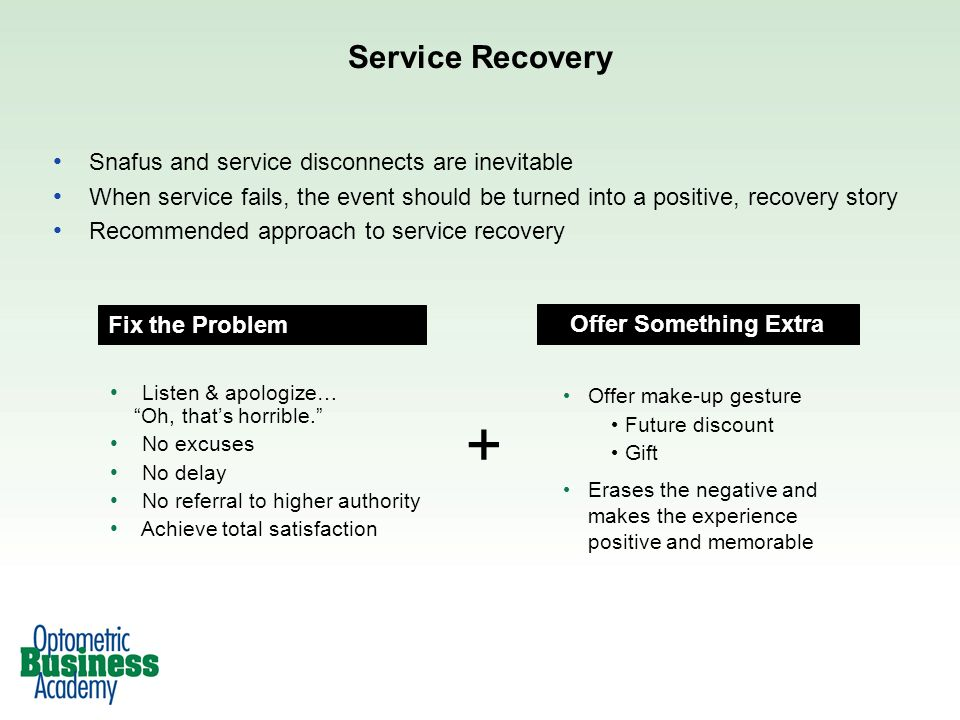 + Service Recovery Snafus and service disconnects are inevitable