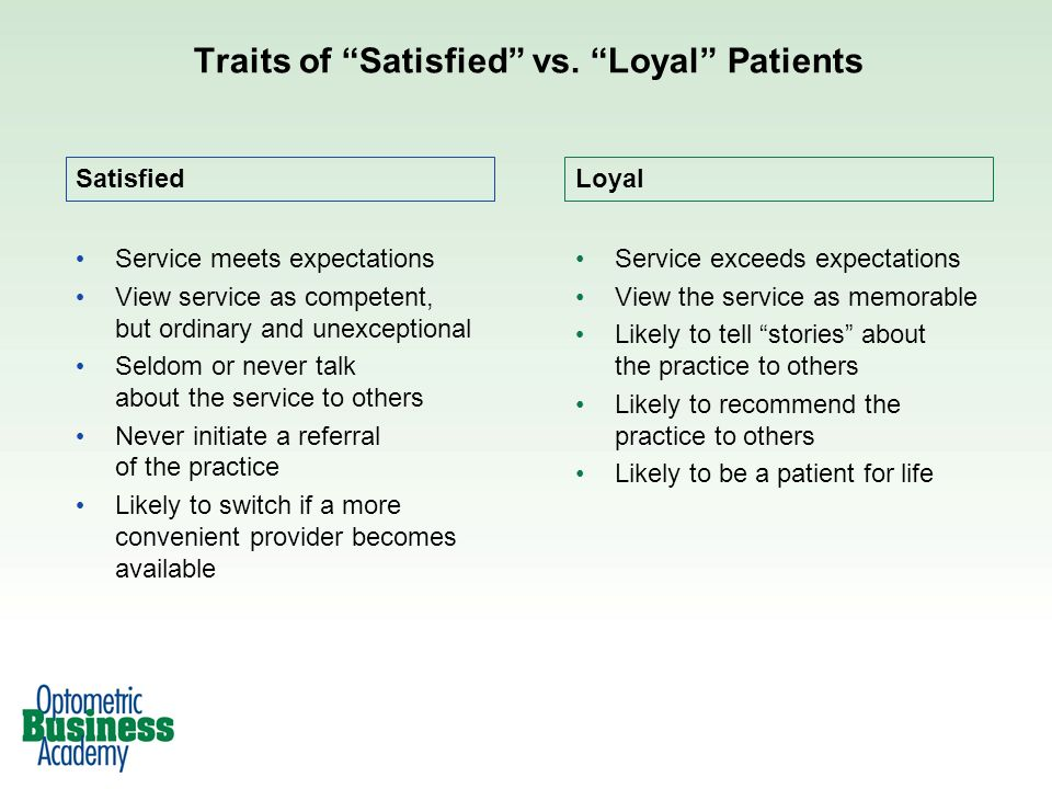 Traits of Satisfied vs. Loyal Patients